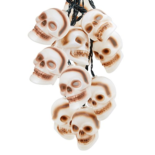 Top Race Halloween String Lights, 10 Big 3 Inch Battery Powered Jack o Lantern Blinking Lights with Motion Sensor and Halloween Music, Halloween Decorations. (Skull)]()