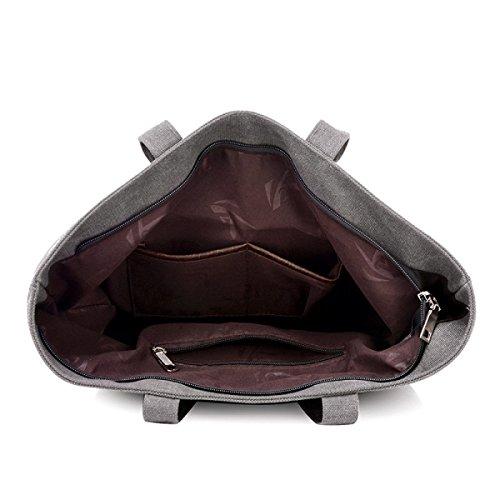 Frauen Jahrgang Leinwand Schulter Aktentasche Messenger Handtasche Einkaufen Geschäft Tasche ,Grey-OneSize
