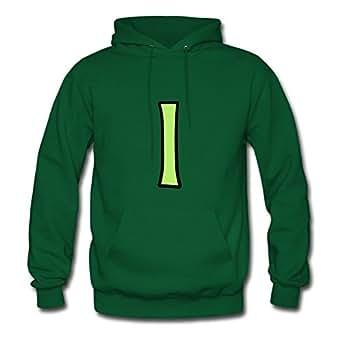 Letter I Comic Cartoon Green Custom-made Women Casual Sweatshirts - X-large