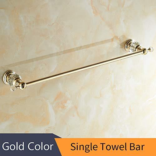 WEN-UD Paper Holder Crystal Solid Brass Gold Washroom Robe Hook Soap Holder Towel Bar Towel Bar Cup Holder Bathroom Single Towel Bar