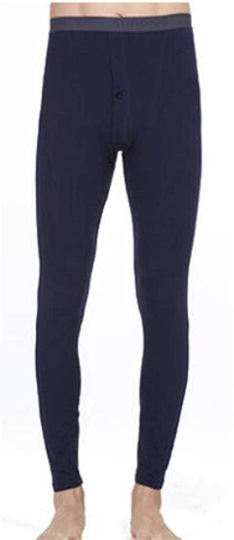 Hajotrawa Men Pure Color Stretchy Comfortable Breathable Thermal Bottom Pants