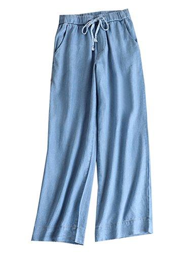 Yimoon Women's Soft Tencel Denim Casual Wide Leg Pants Elastic Waist Palazzo Long Trousers with Drawstring (Light Blue, X-Small)