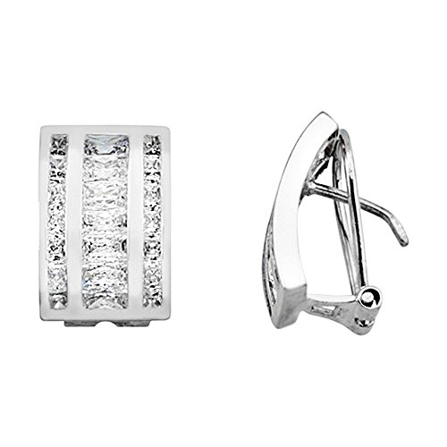 Boucled'oreille 18k or zircone cubique bandes blanches larges [AA6289]