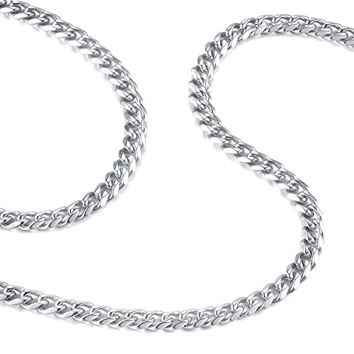FOSIR 6mm Mens Necklace Stainless Steel Silver Curb Link Chain 18