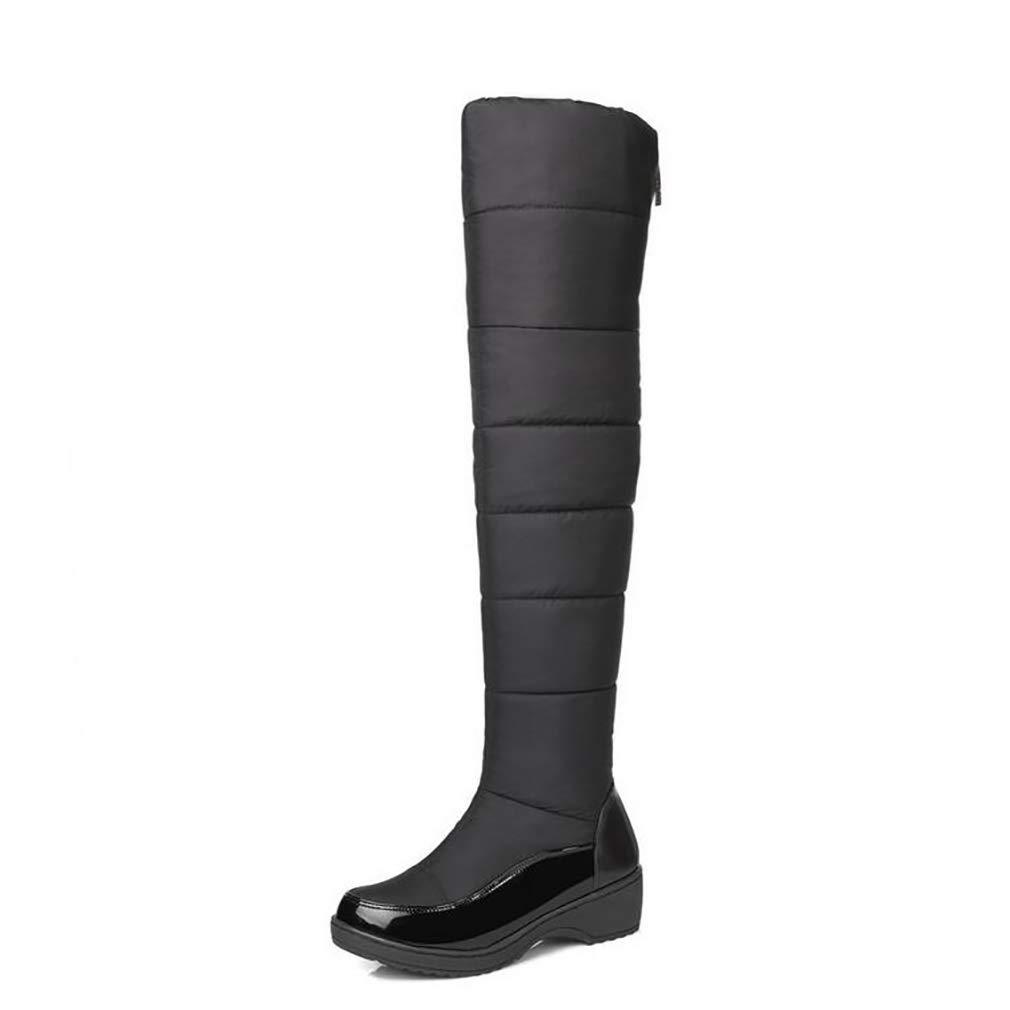 Hy Damenschuhe LARtifical PU Winter Comfort Snow Stiefel Stiefel/Overknee Stiefel/Damen Casual Flat Plus Kaschmir/Warm High Stiefel Blau/Schwarz (Farbe : Schwarz, Größe : 38)