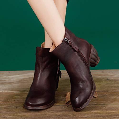 Forma Redonda Bootie Botas Hoja Scldx En Genuino Decoración Cuero Invierno Cortos Retro Cabeza Transpirable Otoño Mujer Zapatos Burdeos Para De x7qEwTYq