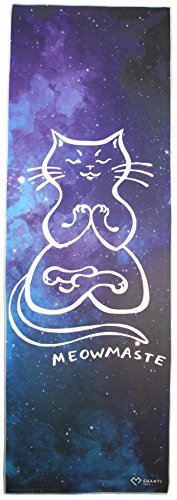 Meowmaste Yoga Towel by Shanti Love | Super Soft and Luxurious Suede Microfiber Hot Yoga Mat Towel | Sweat Absorbent, Non-Slip & Machine Washable (Cat Super Machine)