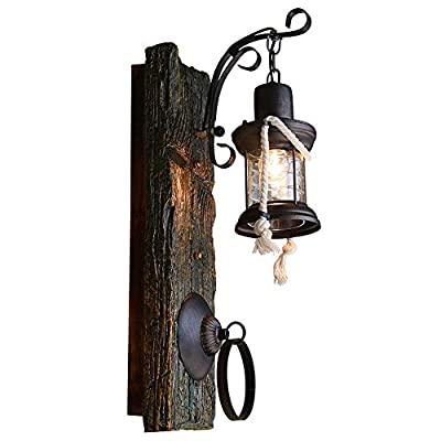 ZLHW Chinese Style Kerosene Wall Lantern Wall Sconce Antique Solid Wood Retro Zen Wall Lamp Turkey Iron Art Hemp Rope Resort Barn Restaurant Warehouse