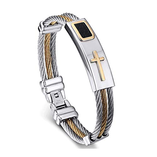 VNOX Mens Stainless Steel Cross ID Bracelet Bangle Two Tone Cable Rope Twist Chain,Gold Plated and