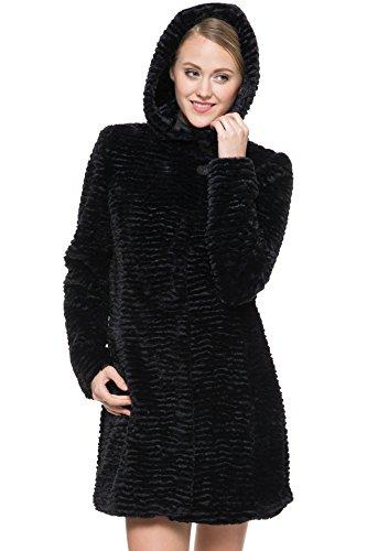 con Coat Nero Karakul pelliccia nero eco Lamb Womens completamente cappuccio Ovonzo 0xOEqvwAO