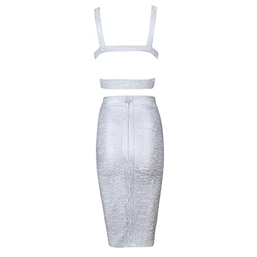 HLBandage Length Knee Dress Piece Silber Bandage Pure Color Women Set 2 rBzr0q