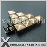 Garment Rivet - 12mm Punk Antique Brass Square Pyramid Nailhead Stud with 4 Prongs for Leather Craft/Bag/Shoe/Clothing