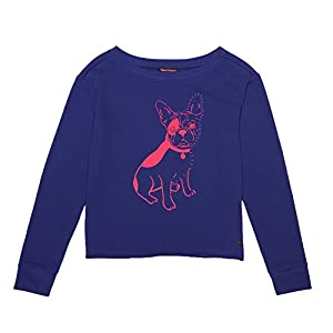 Juicy Couture Girl's Bulldog French Terry Pullover Sweatshirt, Starless Sky (7)