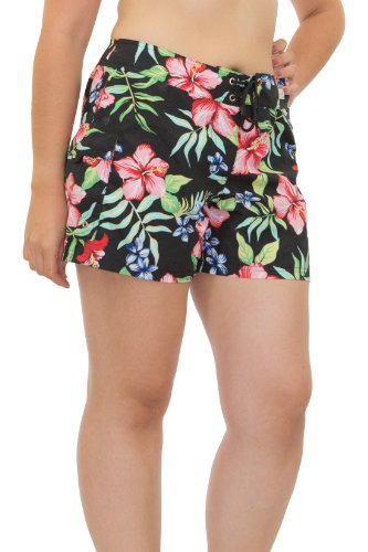 Kechika Women's Las Flores (TBL) Poly Microfiber Full Cut Boardshort With Normal Waist 16 Black