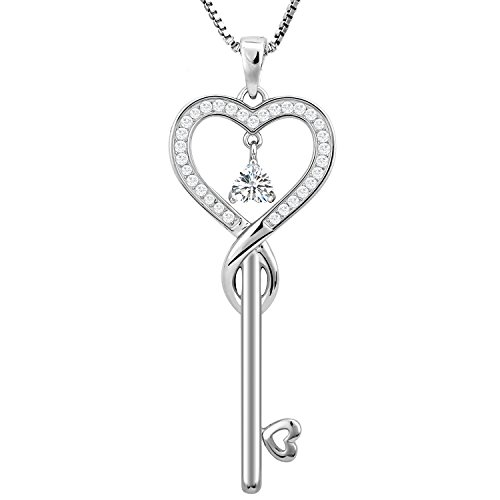 Price comparison product image April Birthstone Good Lucky Key Necklace, Infinity Love Jewelry for Friendship, Mother Daughter Heart Necklace (Diamond)