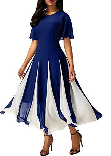Slim Chiffon Da Nero Vestito Ad Lungo Blu Impero E Stile Alta Vita Sexy Linea Vestiti Di A Elegante Cerimonia Donna Sera Abito Abiti 60qwB67