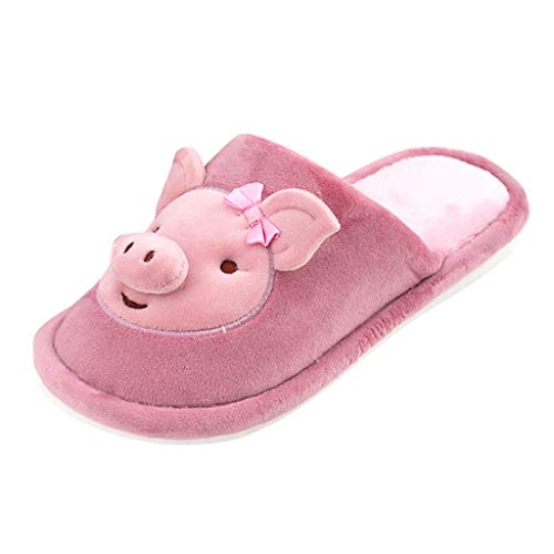 Womens Cartoon Pig Animal Slippers Cozy Indoor Outdoor Fleece Plush Warm House Winter Shoes (US:8.5-9.0, Purple)