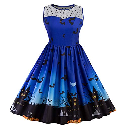 iLOOSKR Plus Size Pleated Dress Women Halloween Vintage Pattren Printing Party Prom Dress ()