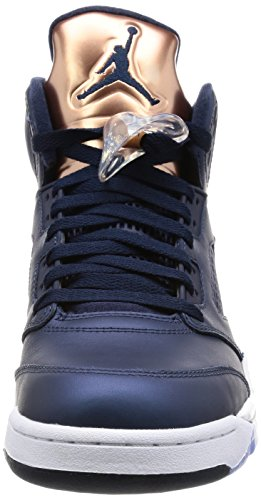 Nike Mens Air Jordan 5 Sneakers Retrò Nere (rete Ossidiana / Bianca Mtlc Bronzo)