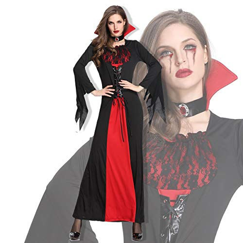YRE Easter Female Vampire Witch Devil Dress Costume, Halloween Makeup Cosplay Queen Dance -