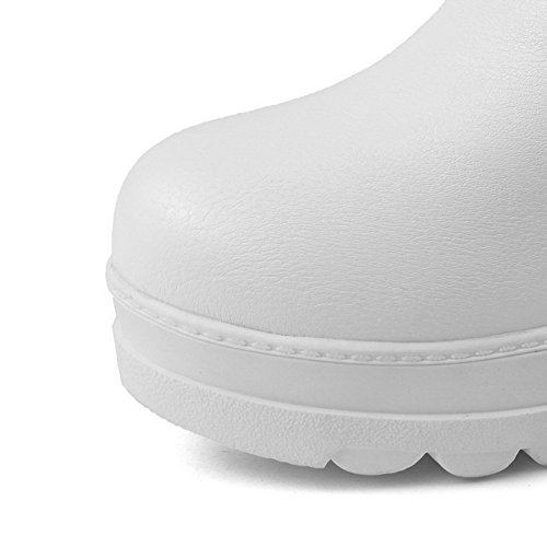 AmoonyFashion Toe Boots Women's Closed Kitten White Heels Solid Round gwOgqr4