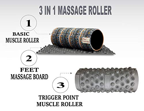 Skyin Trigger Point Muscle Roller 3 in 1,Different from Traditional Foam Roller,Smooth Cotton Roller & Trigger Point Rollers & Foot Massage Board,from Beginners to Professionals (Camo, 12.5