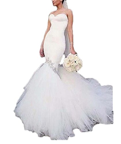 alilith.Z Sexy Sweetheart Bodycon Wedding Dresses for Bride Beaded Rhinestones Mermaid Bridal Gowns with Puffy Tulle (New Bridal Fitted Wedding Gown)