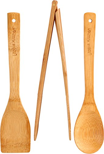 """411B5D558dL - Utopia Kitchen Natural Bamboo Gift Set with 3-Piece Wooden Utensils and a 14.5"""" x 11.5"""" Bamboo Cutting Board"""