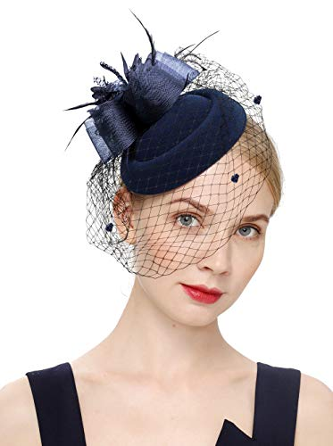 Cizoe Fascinator Hair Clip Pillbox Hat Bowler Feather Flower Veil Wedding Party Hat Tea Hat(1-Navy)