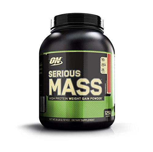 OPTIMUM NUTRITION Serious Mass Weight Gainer Protein Powder, Strawberry, 6 Pound by Optimum Nutrition