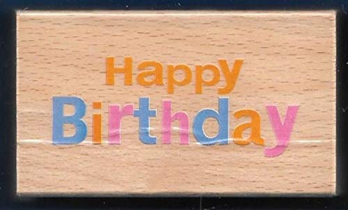 Rubber Stamp Frames Happy Birthday Occasion Words Darice Scrappy Cat New Wood Mount Rubber Stamp