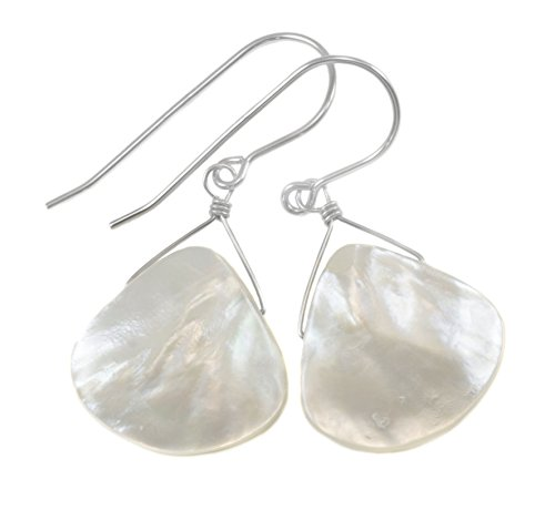 Sterling Silver White Mother Of Pearl Earrings Smooth Fat Simple MOP Tear Drops