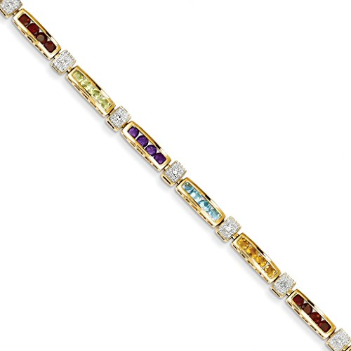 14k Yellow Gold Polished Garnet, Amethyst, Blue Topaz, Peridot, Citrine & Diamond Tennis Bracelet 7