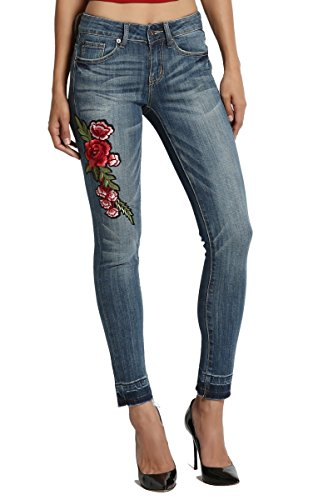 TheMogan Women's Floral Embroidered Patch Raw Hem Crop Skinny Jeans Medium 3 (Cropped Jeans Stella)