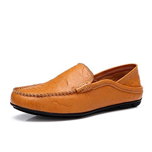 Primavera para Cuero Mocasines Zapatos para y Hombre Zapatos Genuino Slip On Zapatos de Otoño Zapatos Yellow Hombre de Mocasines Casual Hombres Hombres 87qxUw