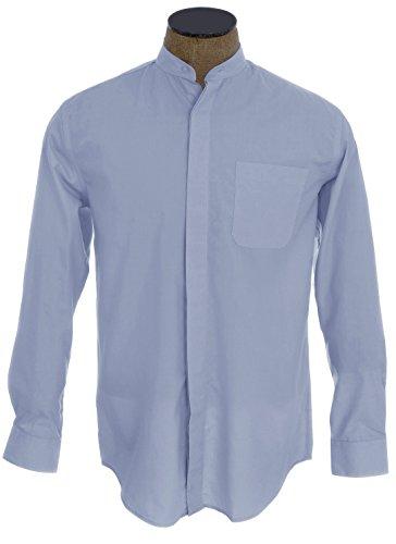 Sunrise Outlet Men's Collarless Banded Collar Dress Shirt - Light Blue 17.5 34-35