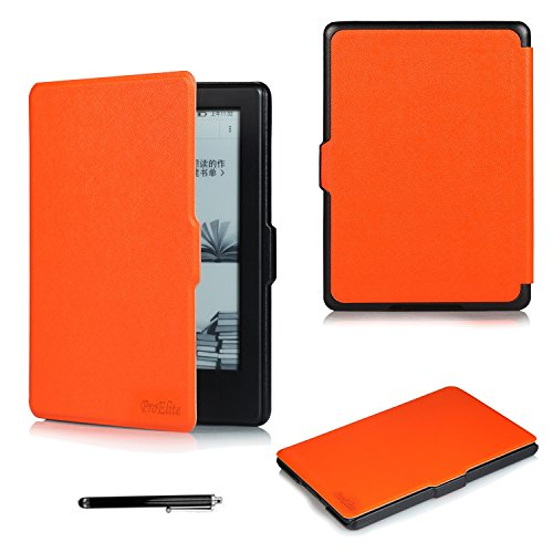 ProElite Ultra Slim Flip Case Cover for Amazon Kindle E Reader 6 #34; 8th Generation 2016 Launch  Orange, Auto Sleep Wake with Magnetic Lock  with Sty