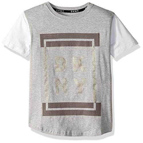 DKNY Boys' Big Short Sleeve Fashion T-Shirt, Framed Heather Light, 18/20 from DKNY