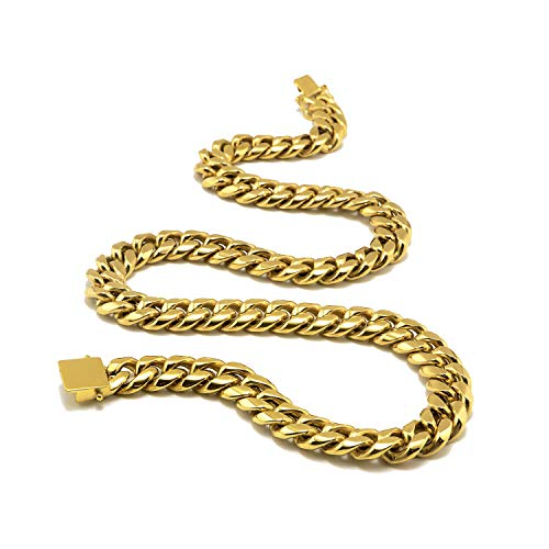 Hollywood Jewelry Men's Miami Cuban Link Chain 24k Yellow Gold Plated Stainless Steel Real Thick Solid Clasp 6-14MM 28inch (12MM) ()