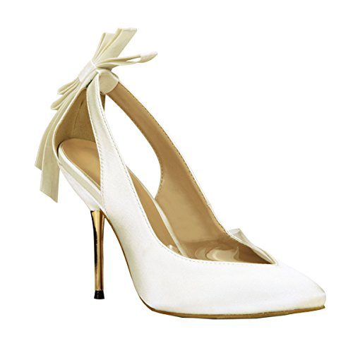 Prom Sandals Stilettos Bowtie Fashion MULTI Women SM00049 Dress Pumps Dolphin Party Shoes White Wedding COLOURS Pointy Azxq7