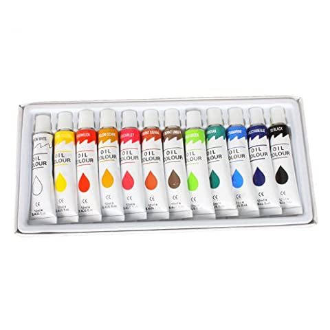 US Art Supply Professional Oil Paints 12 Tubes Oil Colours Painting Set (Paint & Wall Covering Supplies)