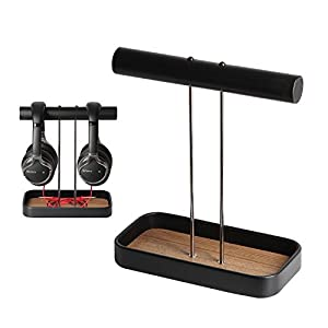 JackCubeDesign's Brand New Headphone Stand Dual Headset Holder Display Earphone Hanger Rack Support for 2 Headphones with Bamboo Tray and Cable Holder(8.3 x 4.3 x 10.4 inches) – MK118S