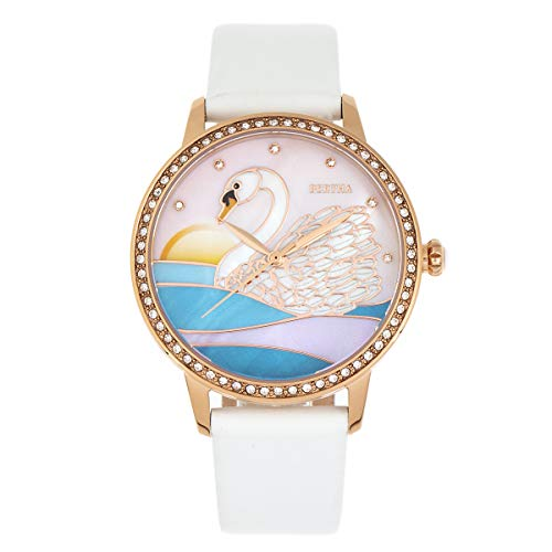 Bertha Grace Quartz Swan MOP Dial White Genuine Leather Women's Watch ()