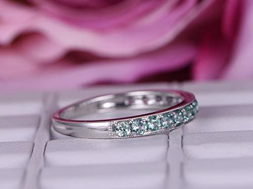 Green Alexandrite Wedding Band Milgrain Half Eternity Anniversary Ring 14K White Gold ()