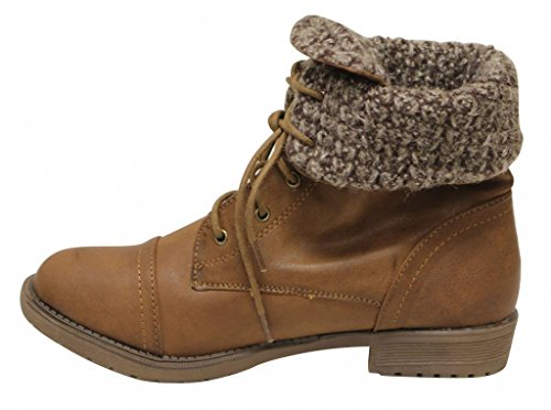 up combat lace calf Brown round lining boots Womens Anna comfort 11 mid Tori PU toe woolen military q7F81