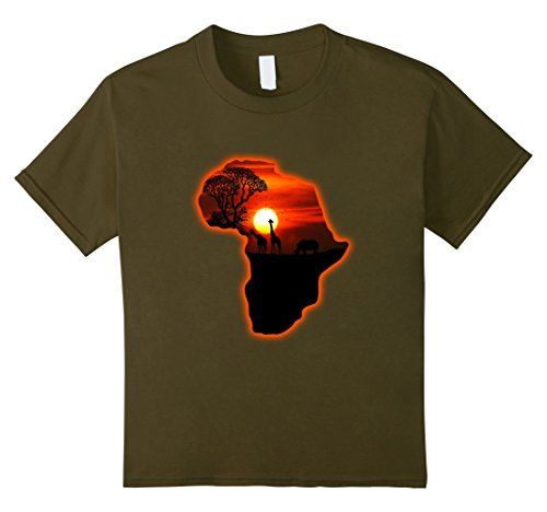 Kids Africa T Shirt Map Of Africa Tee South African Sunset Safari 8 Olive (Map Africa T-shirt)