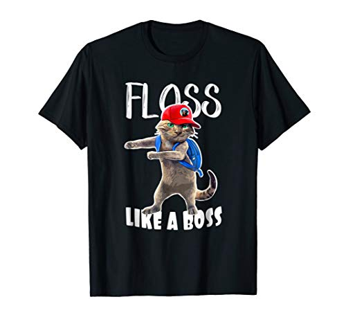 - Funny Graphic T Shirt Flossing School Cat Floss like a Boss