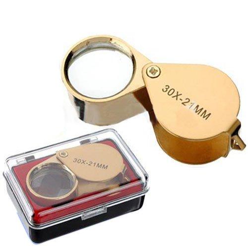 30 x pluridisciplinare lente di ingrandimento lente di ingrandimento pieghevole gioielliere orologio da tasca d'ingrandimento lente d'ingrandimento leggerò l'aiuto 21 mm oro Hits*_DE Co. LTD