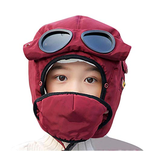 (Leegoal Winter Windproof Warm Hat,Plus Velvet Winter Trooper Hat with Removable Mask and Goggles for Kids Children Outdoor)