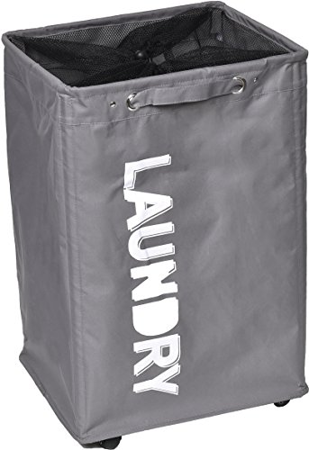 EVIDECO Rolling Laundry Hamper Bag with Top Closing Mesh-Polyester Fabric Gray by EVIDECO